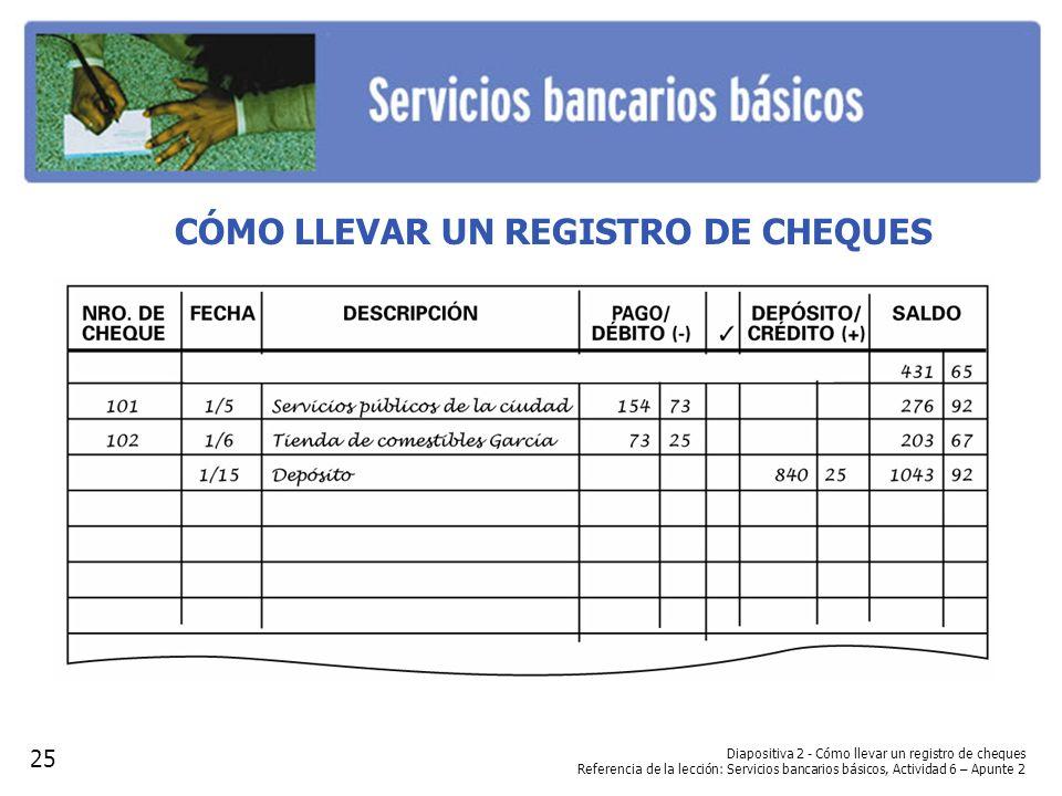 CÓMO LLEVAR UN REGISTRO DE CHEQUES Diapositiva 2 - Cómo llevar un registro de cheques Referencia de la lección: Servicios bancarios básicos, Actividad