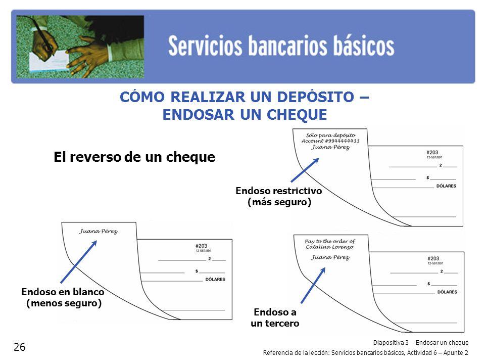 Diapositiva 3 - Endosar un cheque Referencia de la lección: Servicios bancarios básicos, Actividad 6 – Apunte 2 CÓMO REALIZAR UN DEPÓSITO – ENDOSAR UN