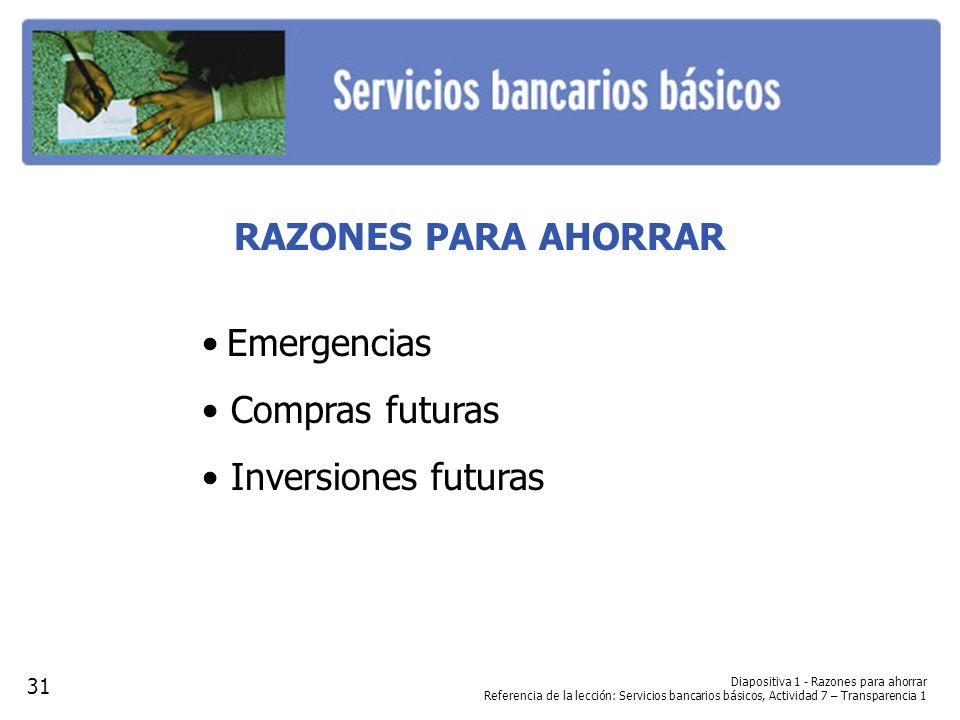 RAZONES PARA AHORRAR Emergencias Compras futuras Inversiones futuras Diapositiva 1 - Razones para ahorrar Referencia de la lección: Servicios bancario