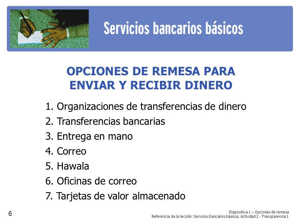 OPCIONES DE REMESA PARA ENVIAR Y RECIBIR DINERO 1. Organizaciones de transferencias de dinero 2. Transferencias bancarias 3. Entrega en mano 4. Correo