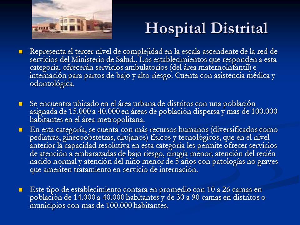 Hospital Distrital Hospital Distrital Representa el tercer nivel de complejidad en la escala ascendente de la red de servicios del Ministerio de Salud