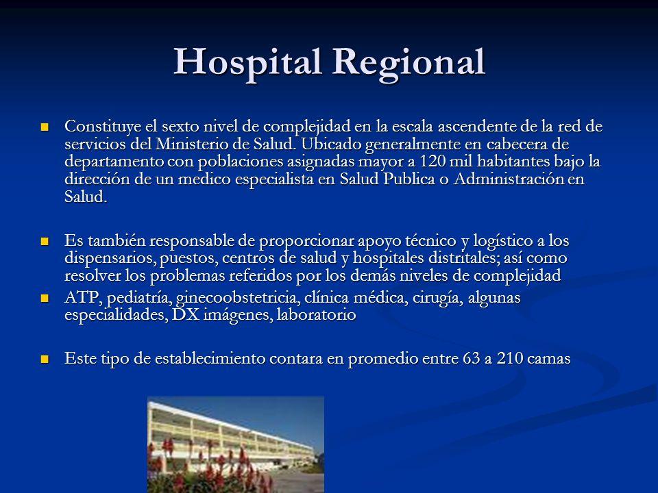 Hospital Regional Constituye el sexto nivel de complejidad en la escala ascendente de la red de servicios del Ministerio de Salud. Ubicado generalment