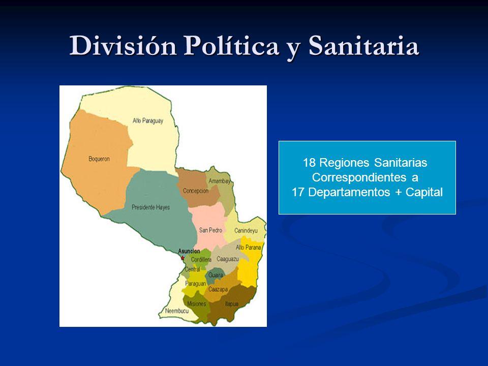 División Política y Sanitaria 18 Regiones Sanitarias Correspondientes a 17 Departamentos + Capital