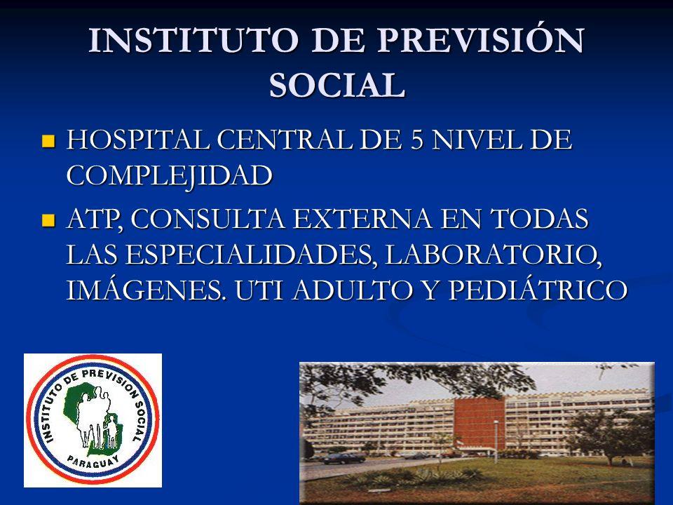 INSTITUTO DE PREVISIÓN SOCIAL HOSPITAL CENTRAL DE 5 NIVEL DE COMPLEJIDAD HOSPITAL CENTRAL DE 5 NIVEL DE COMPLEJIDAD ATP, CONSULTA EXTERNA EN TODAS LAS