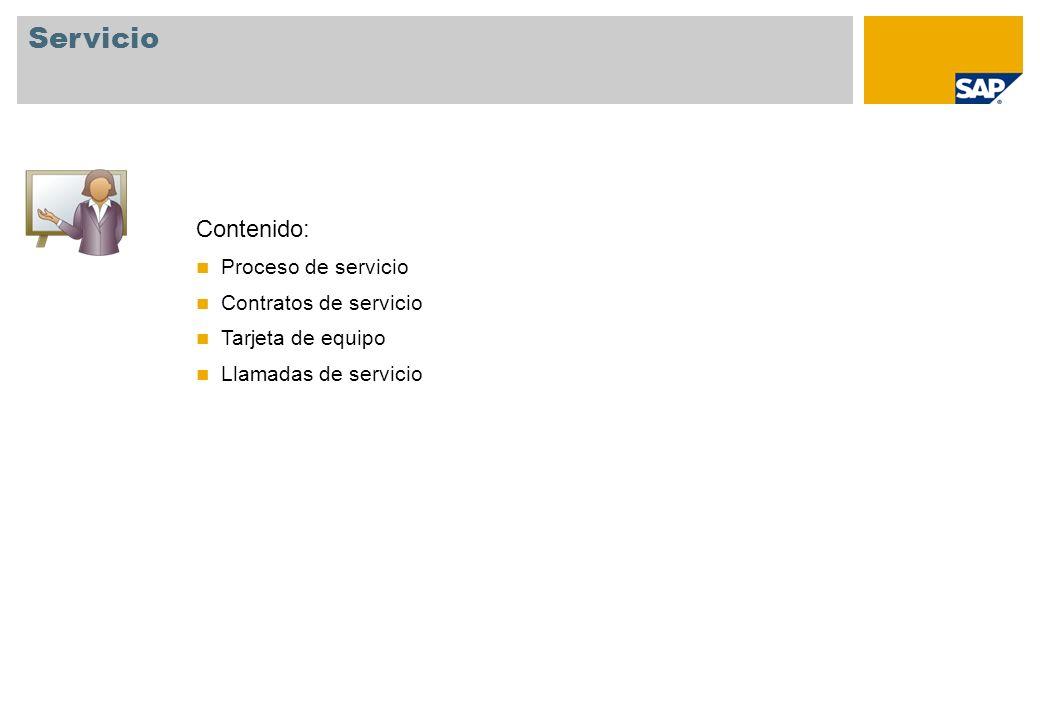 Contenido: Proceso de servicio Contratos de servicio Tarjeta de equipo Llamadas de servicio Servicio