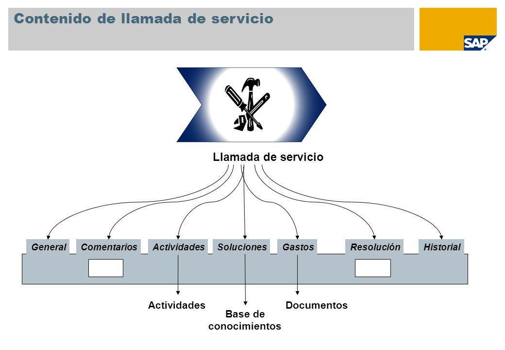 Contenido de llamada de servicio Llamada de servicio GeneralComentarios HistorialResoluciónSoluciones Actividades Base de conocimientos Documentos Gas