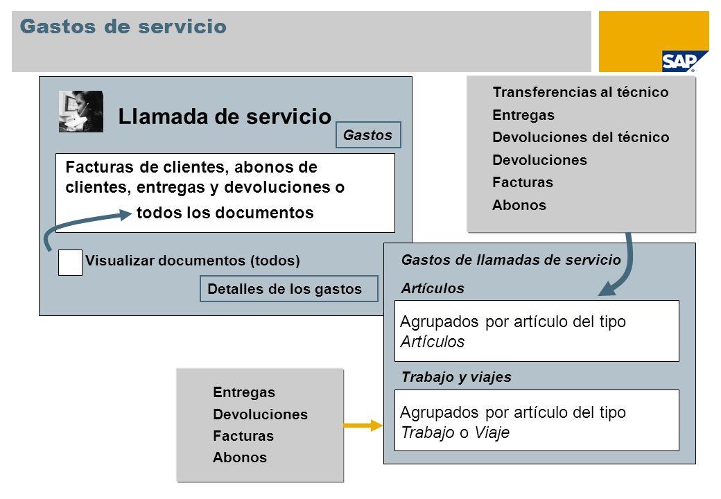 Gastos de servicio Llamada de servicio Facturas de clientes, abonos de clientes, entregas y devoluciones o Visualizar documentos (todos) todos los doc