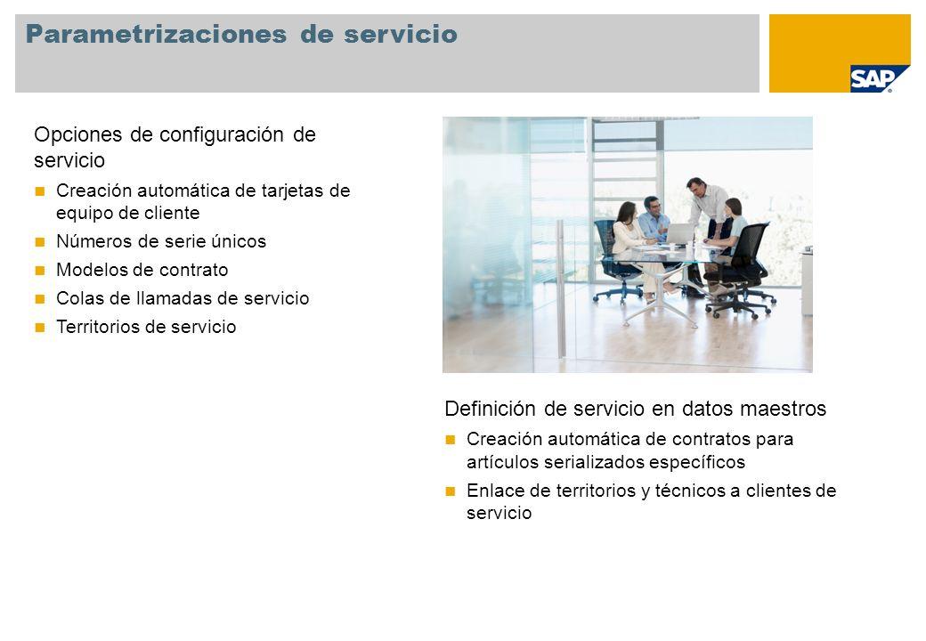 Parametrizaciones de servicio Opciones de configuración de servicio Creación automática de tarjetas de equipo de cliente Números de serie únicos Model