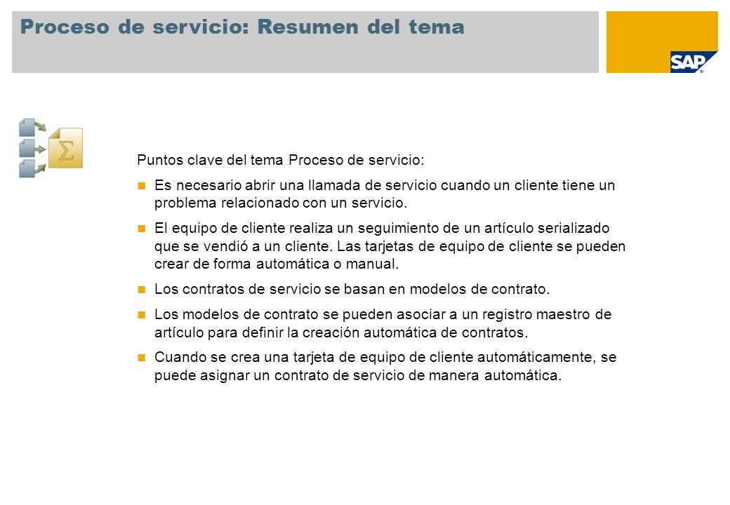 Proceso de servicio: Resumen del tema Puntos clave del tema Proceso de servicio: Es necesario abrir una llamada de servicio cuando un cliente tiene un