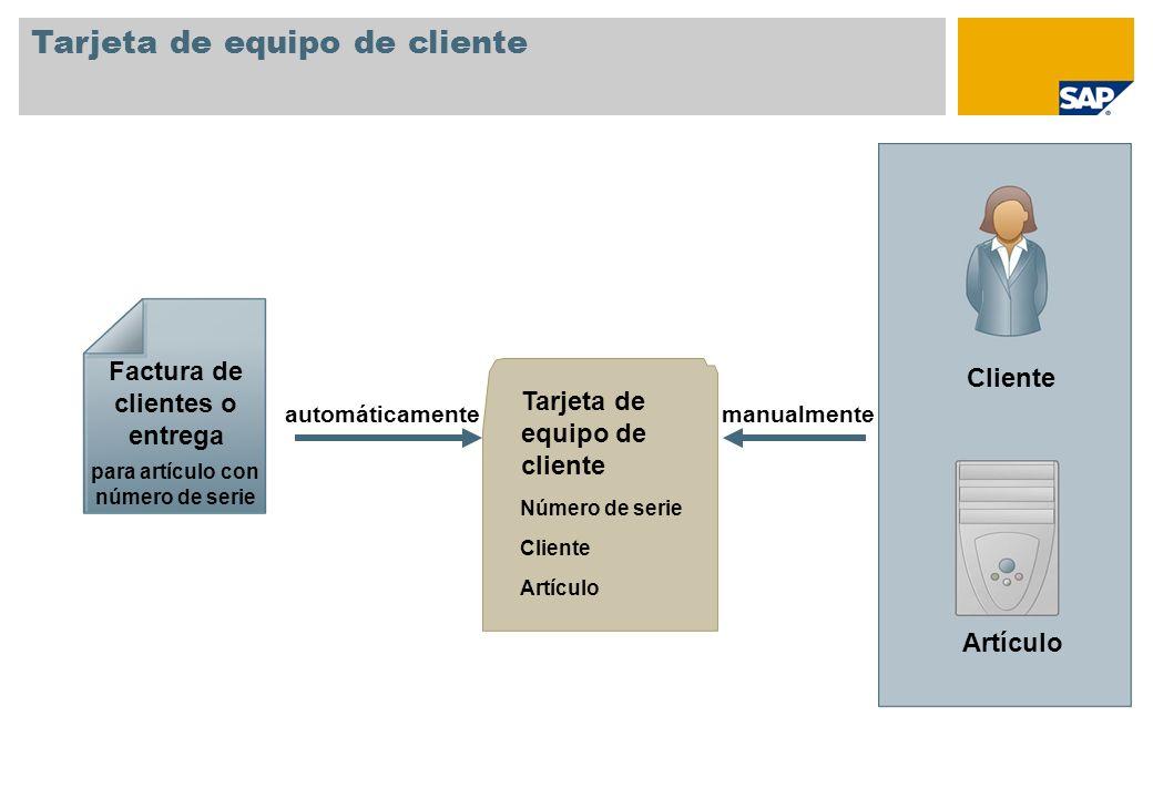 Tarjeta de equipo de cliente Número de serie Cliente Artículo Tarjeta de equipo de cliente Factura de clientes o entrega para artículo con número de s