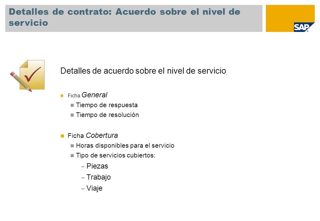 Detalles de contrato: Acuerdo sobre el nivel de servicio Detalles de acuerdo sobre el nivel de servicio Ficha General Tiempo de respuesta Tiempo de re