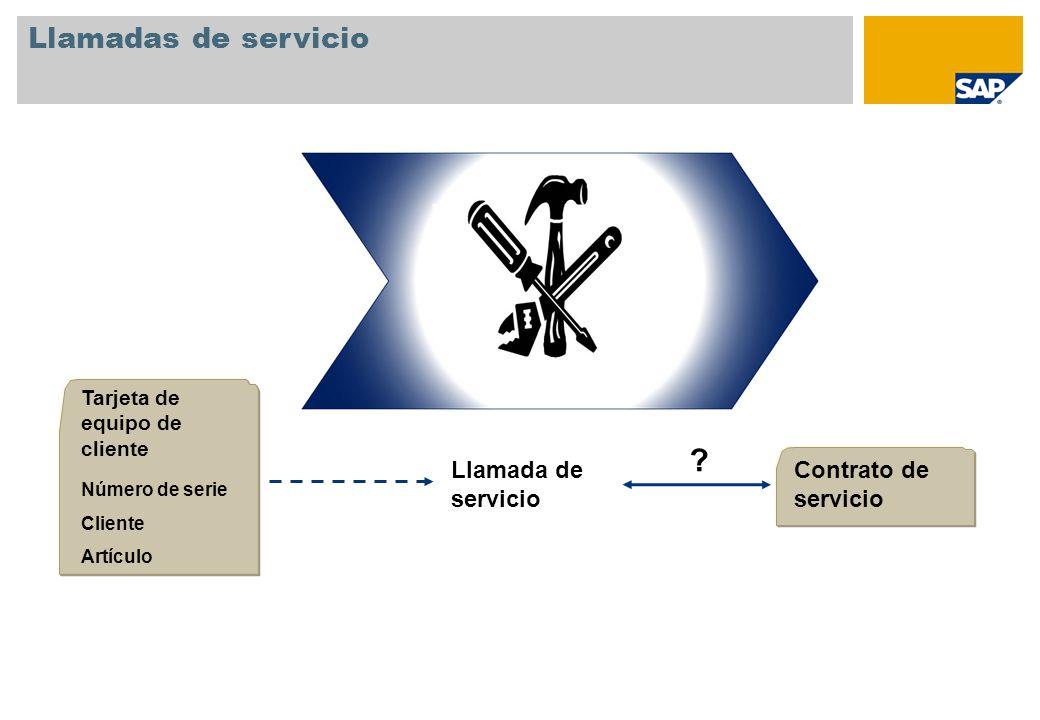 Llamadas de servicio Llamada de servicio Contrato de servicio Tarjeta de equipo de cliente Número de serie Cliente Artículo ?