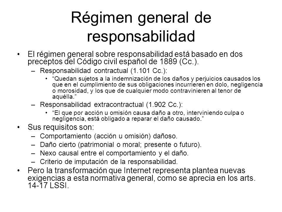Régimen general de responsabilidad El régimen general sobre responsabilidad está basado en dos preceptos del Código civil español de 1889 (Cc.).