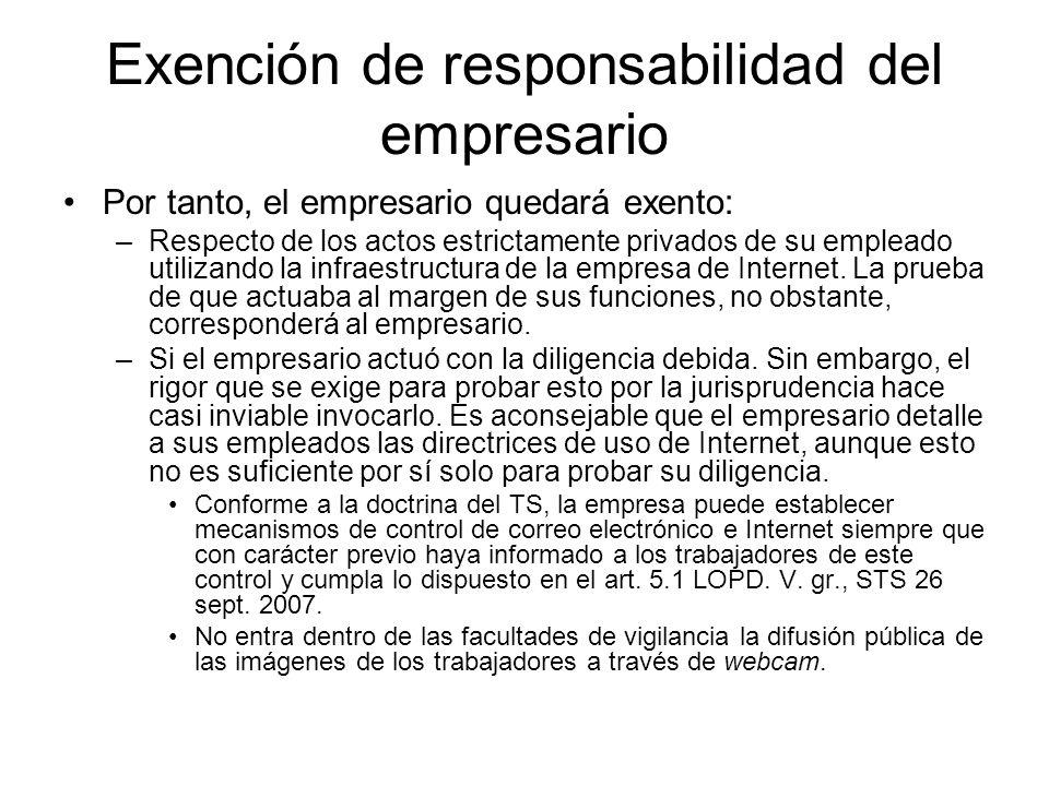 Exención de responsabilidad del empresario Por tanto, el empresario quedará exento: –Respecto de los actos estrictamente privados de su empleado utilizando la infraestructura de la empresa de Internet.