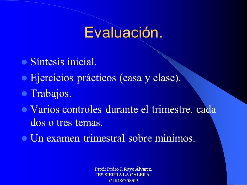 Prof.: Pedro J. Rayo Álvarez. IES SIERRA LA CALERA. CURSO 08/09Metodología. Explicaciones teóricas y demostraciones prácticas en el aula, guiadas con