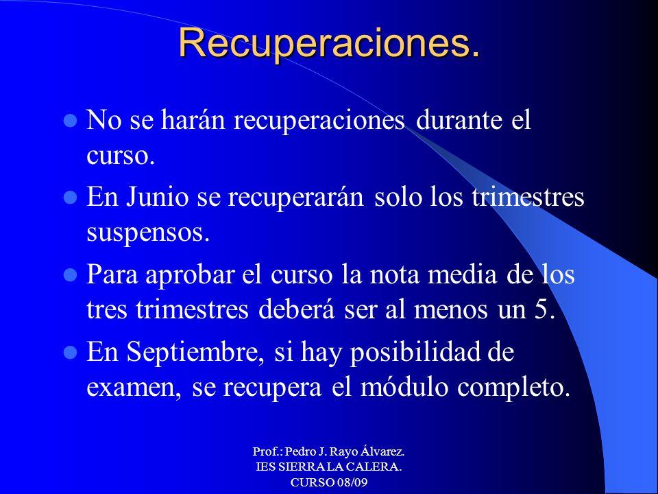 Prof.: Pedro J. Rayo Álvarez. IES SIERRA LA CALERA. CURSO 08/09 Calificación. TRIMESTRALMENTE: 60% NOTA PREVIA. 40% EXAMEN TRIMESTRAL. NOTA FINAL DEL