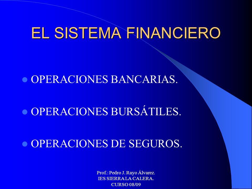 Prof.: Pedro J. Rayo Álvarez. IES SIERRA LA CALERA. CURSO 08/09 PRODUCTOS Y SERVICIOS FINANCIEROS Y DE SEGUROS BÁSICOS.
