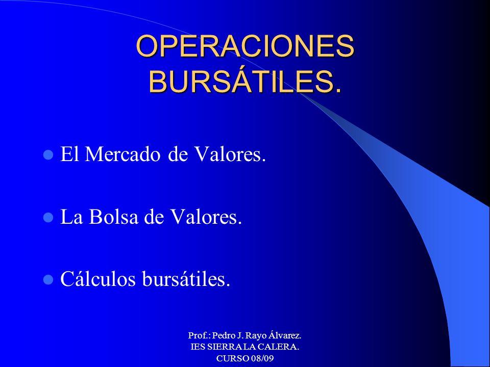 Prof.: Pedro J. Rayo Álvarez. IES SIERRA LA CALERA. CURSO 08/09 OPERACIONES BANCARIAS Matemáticas financieras. Operaciones pasivas. Operaciones activa