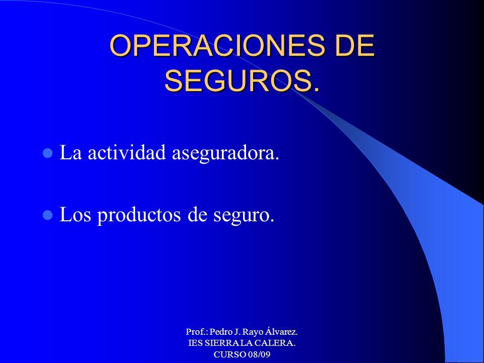 Prof.: Pedro J. Rayo Álvarez. IES SIERRA LA CALERA. CURSO 08/09 OPERACIONES BURSÁTILES. El Mercado de Valores. La Bolsa de Valores. Cálculos bursátile
