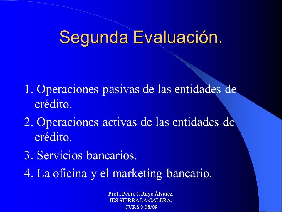 Prof.: Pedro J. Rayo Álvarez. IES SIERRA LA CALERA. CURSO 08/09 Primera Evaluación. 1. El sistema financiero. 2. El interés simple. 3. Descuento. 4. E