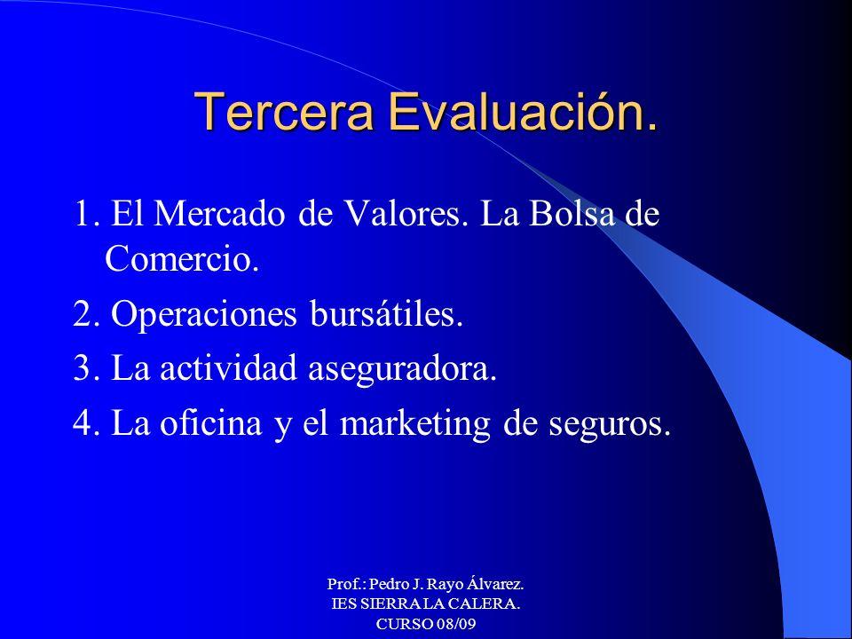 Prof.: Pedro J. Rayo Álvarez. IES SIERRA LA CALERA. CURSO 08/09 Segunda Evaluación. 1. Operaciones pasivas de las entidades de crédito. 2. Operaciones