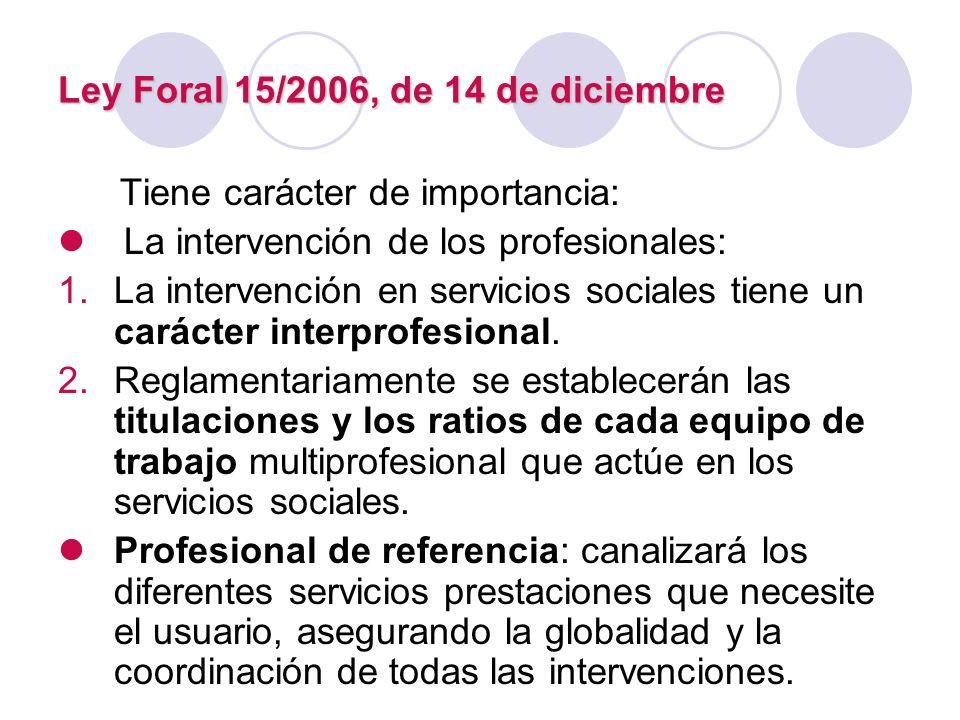 Ley Foral 15/2006, de 14 de diciembre Tiene carácter de importancia: La intervención de los profesionales: 1.La intervención en servicios sociales tie