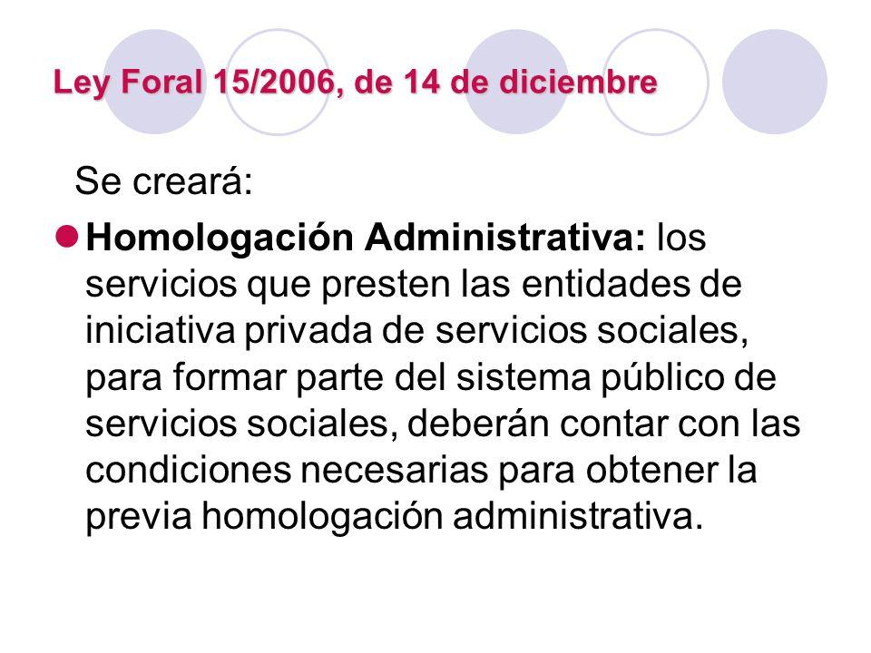 Ley Foral 15/2006, de 14 de diciembre Se creará: Homologación Administrativa: los servicios que presten las entidades de iniciativa privada de servici