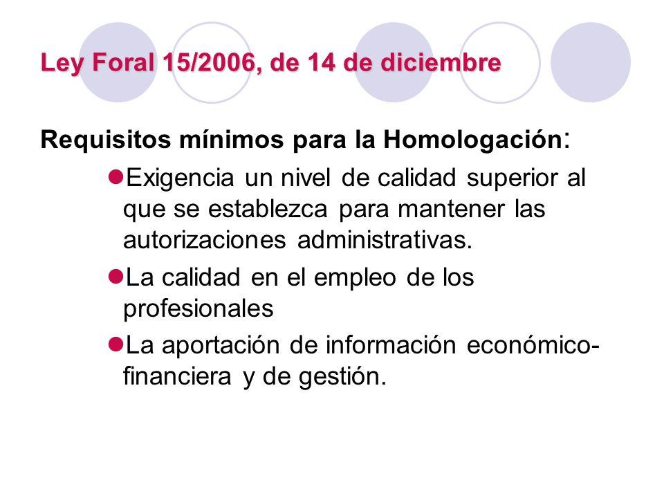 Ley Foral 15/2006, de 14 de diciembre Requisitos mínimos para la Homologación : Exigencia un nivel de calidad superior al que se establezca para mante