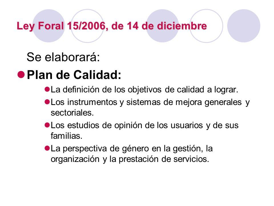 Ley Foral 15/2006, de 14 de diciembre Se elaborará: Plan de Calidad: La definición de los objetivos de calidad a lograr. Los instrumentos y sistemas d