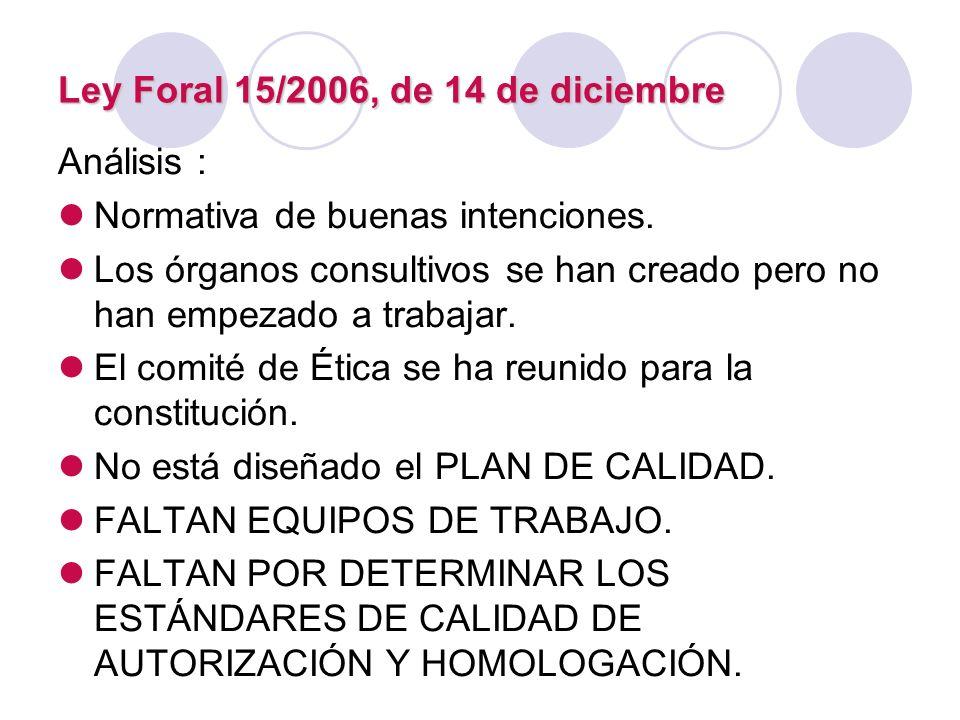 Ley Foral 15/2006, de 14 de diciembre Análisis : Normativa de buenas intenciones. Los órganos consultivos se han creado pero no han empezado a trabaja