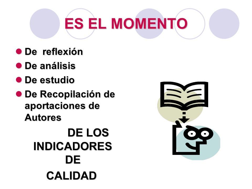 ES EL MOMENTO De reflexión De reflexión De análisis De análisis De estudio De estudio De Recopilación de aportaciones de Autores De Recopilación de ap