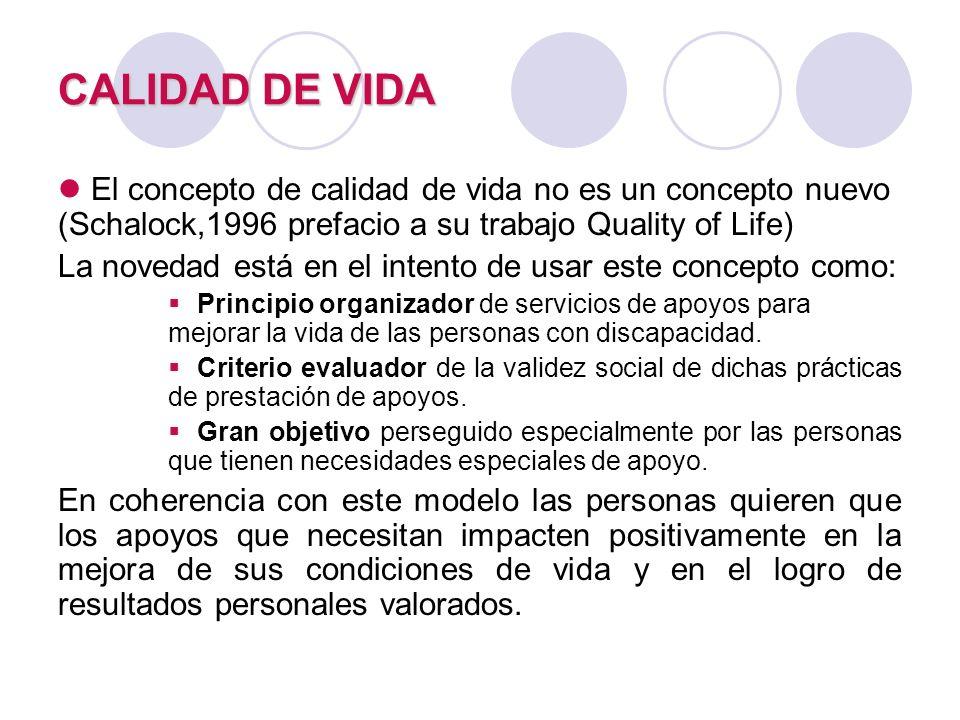 CALIDAD DE VIDA El concepto de calidad de vida no es un concepto nuevo (Schalock,1996 prefacio a su trabajo Quality of Life) La novedad está en el int