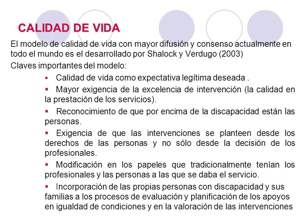CALIDAD DE VIDA El modelo de calidad de vida con mayor difusión y consenso actualmente en todo el mundo es el desarrollado por Shalock y Verdugo (2003