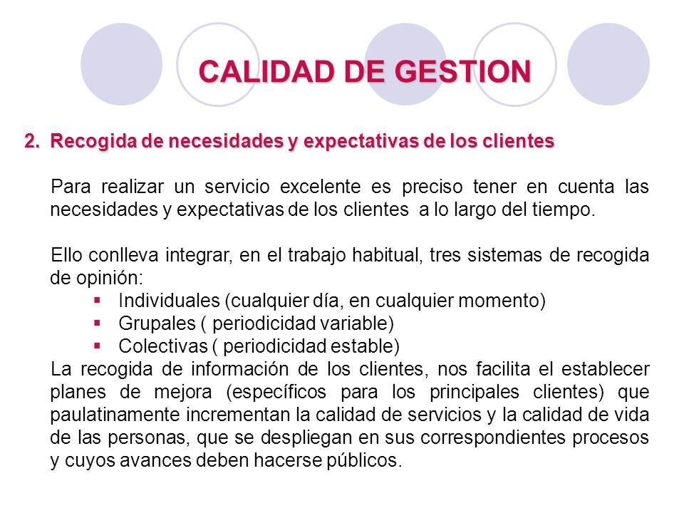 CALIDAD DE GESTION 2.Recogida de necesidades y expectativas de los clientes Para realizar un servicio excelente es preciso tener en cuenta las necesid