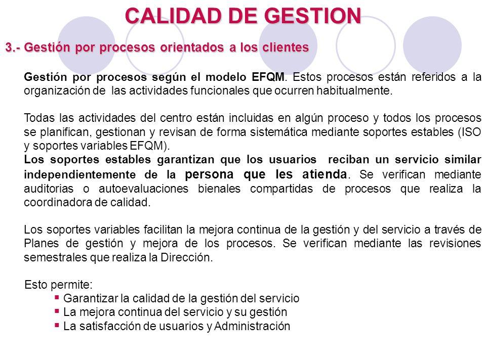 CALIDAD DE GESTION 3.- Gestión por procesos orientados a los clientes Gestión por procesos según el modelo EFQM. Estos procesos están referidos a la o