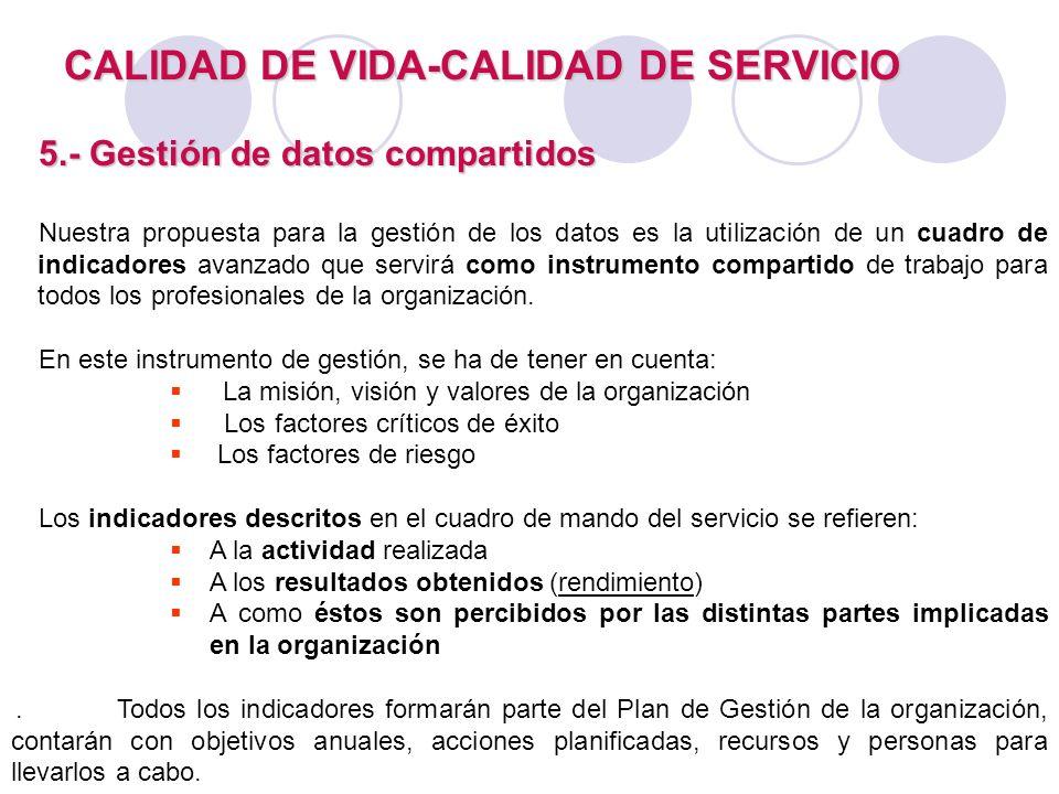 CALIDAD DE VIDA-CALIDAD DE SERVICIO 5.- Gestión de datos compartidos Nuestra propuesta para la gestión de los datos es la utilización de un cuadro de
