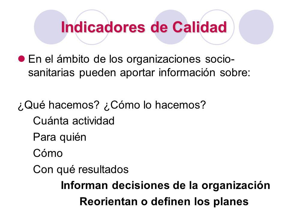 Indicadores de Calidad En el ámbito de los organizaciones socio- sanitarias pueden aportar información sobre: ¿Qué hacemos? ¿Cómo lo hacemos? Cuánta a