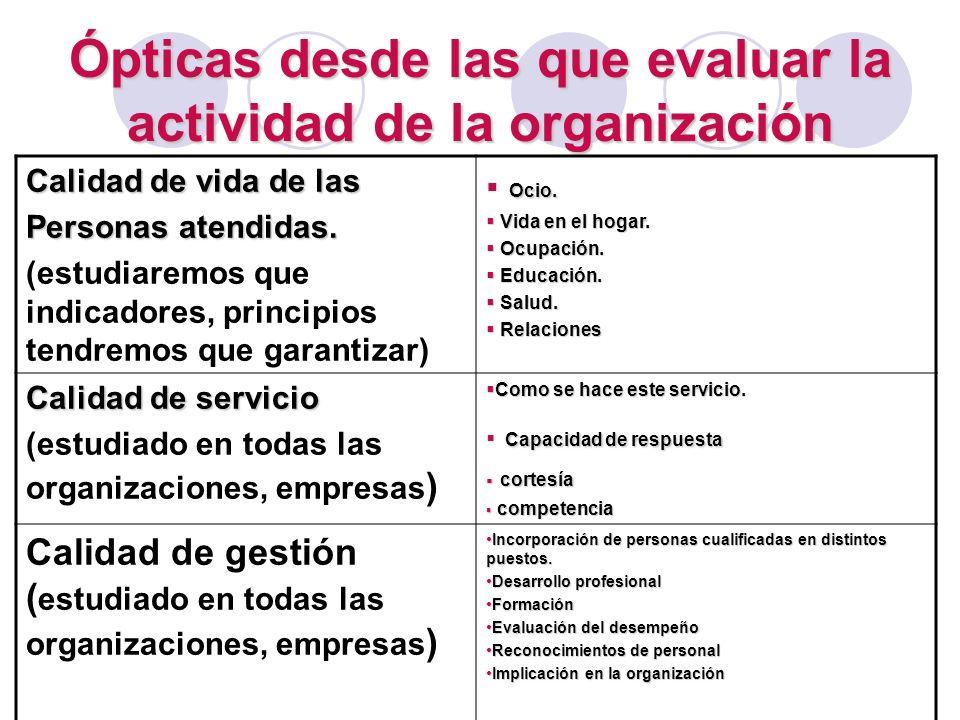 Ópticas desde las que evaluar la actividad de la organización Calidad de vida de las Personas atendidas. (estudiaremos que indicadores, principios ten