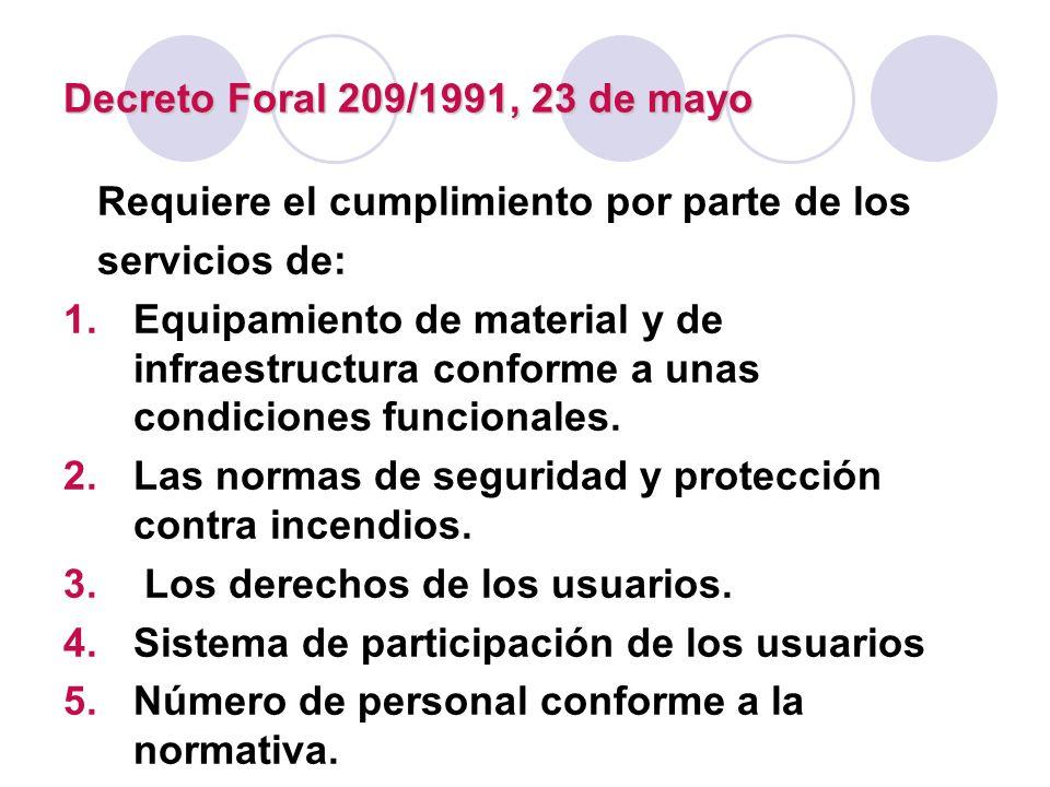 Decreto Foral 209/1991, 23 de mayo Requiere el cumplimiento por parte de los servicios de: 1.Equipamiento de material y de infraestructura conforme a