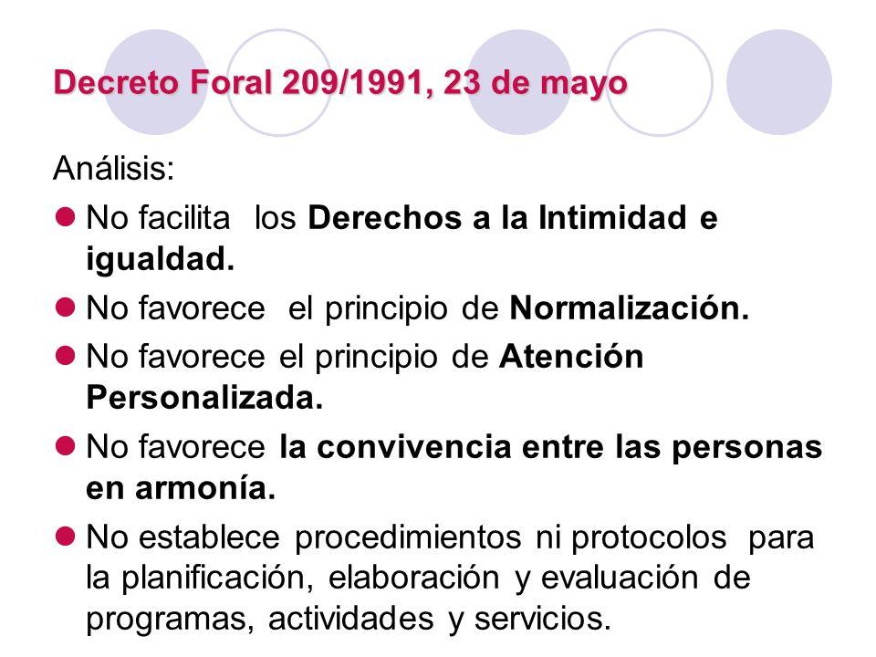 Decreto Foral 209/1991, 23 de mayo Análisis: No facilita los Derechos a la Intimidad e igualdad. No favorece el principio de Normalización. No favorec