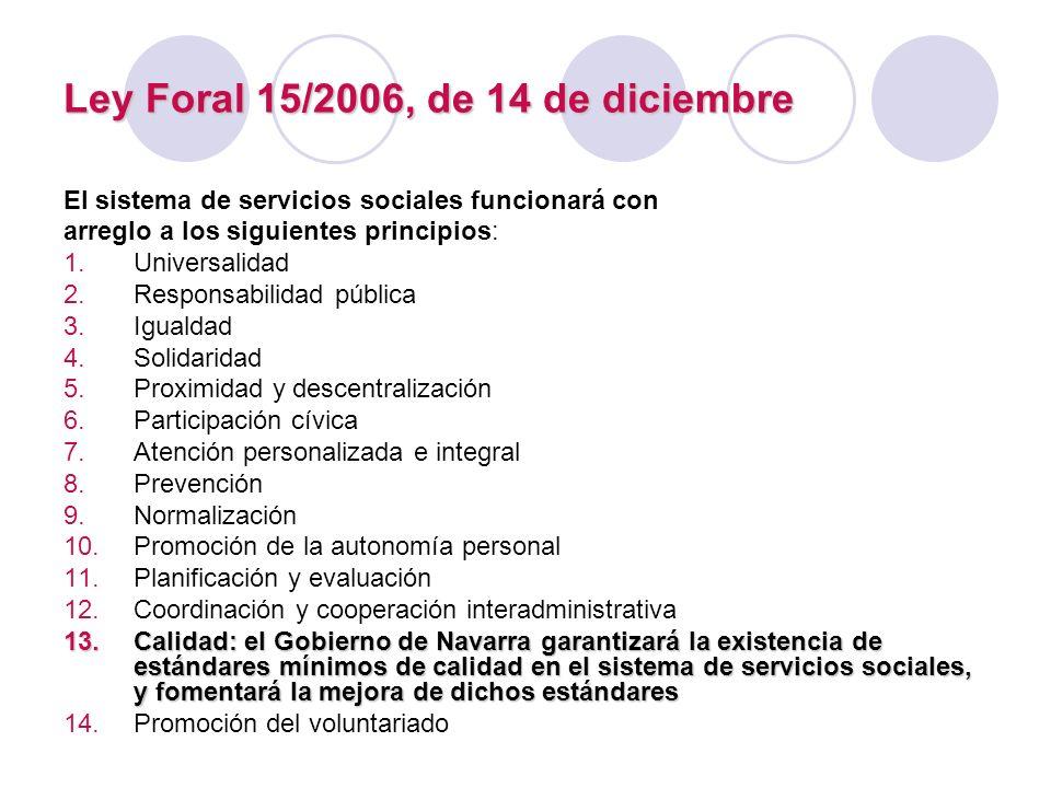 Ley Foral 15/2006, de 14 de diciembre El sistema de servicios sociales funcionará con arreglo a los siguientes principios: 1.Universalidad 2.Responsab