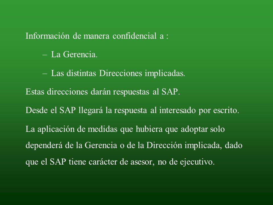 Información de manera confidencial a : –La Gerencia. –Las distintas Direcciones implicadas. Estas direcciones darán respuestas al SAP. Desde el SAP ll