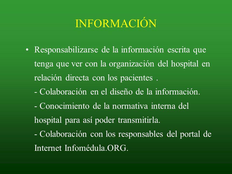 INFORMACIÓN Responsabilizarse de la información escrita que tenga que ver con la organización del hospital en relación directa con los pacientes. - Co