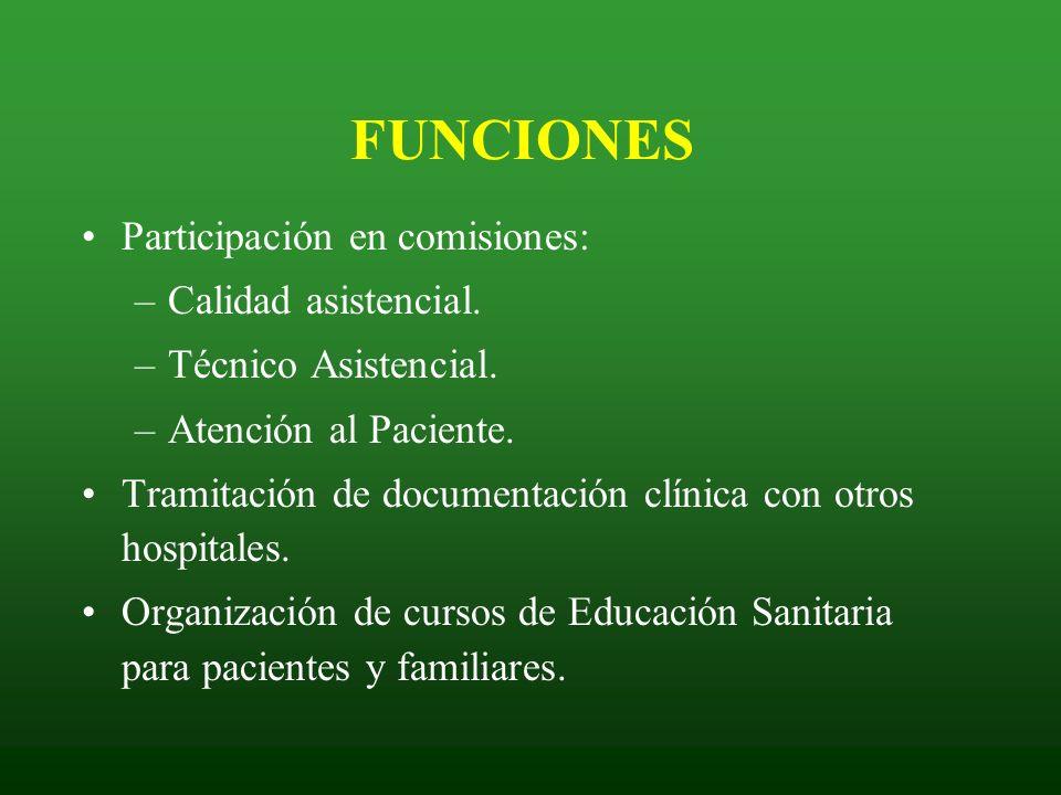 Participación en comisiones: –Calidad asistencial. –Técnico Asistencial. –Atención al Paciente. Tramitación de documentación clínica con otros hospita