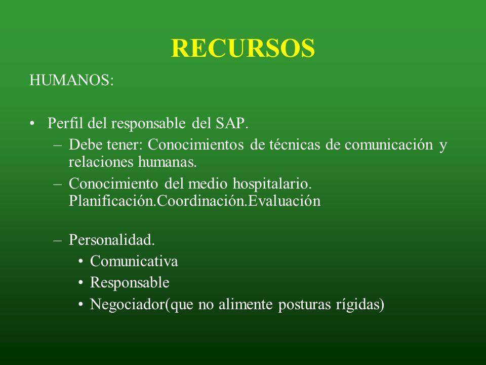 RECURSOS HUMANOS: Perfil del responsable del SAP. –Debe tener: Conocimientos de técnicas de comunicación y relaciones humanas. –Conocimiento del medio