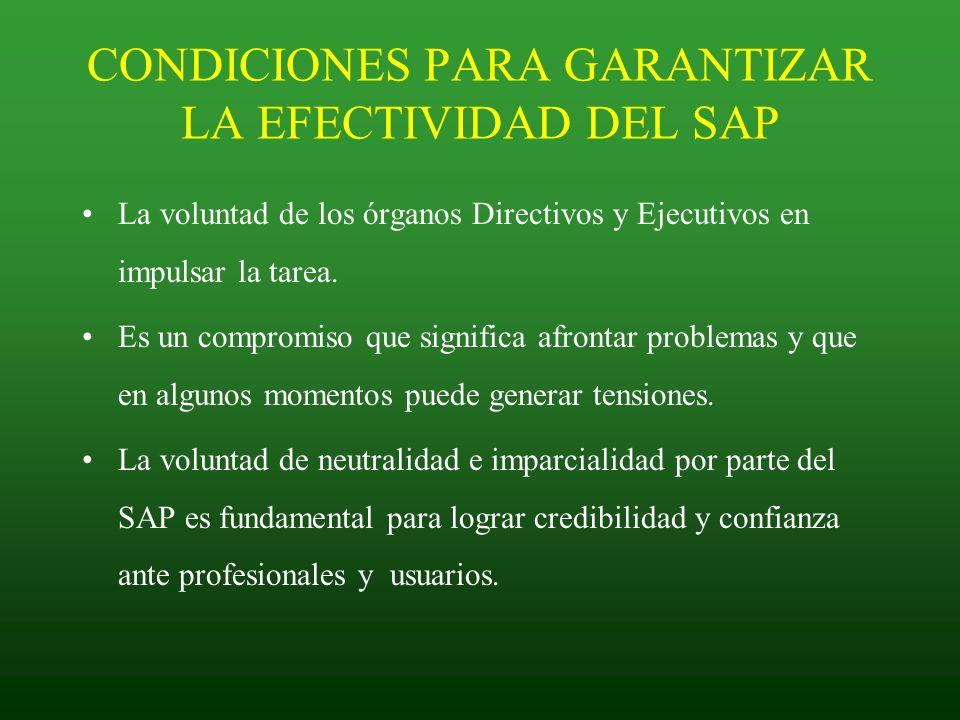 CONDICIONES PARA GARANTIZAR LA EFECTIVIDAD DEL SAP La voluntad de los órganos Directivos y Ejecutivos en impulsar la tarea. Es un compromiso que signi