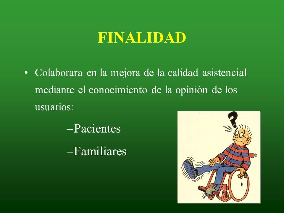 FINALIDAD Colaborara en la mejora de la calidad asistencial mediante el conocimiento de la opinión de los usuarios: –Pacientes –Familiares