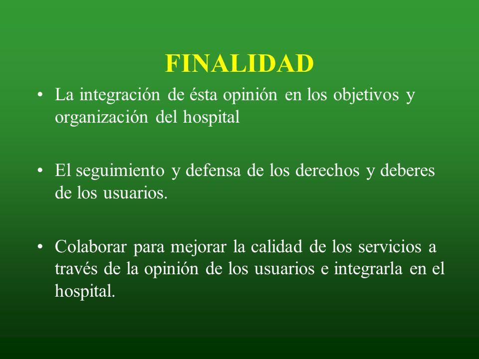 La integración de ésta opinión en los objetivos y organización del hospital El seguimiento y defensa de los derechos y deberes de los usuarios. Colabo