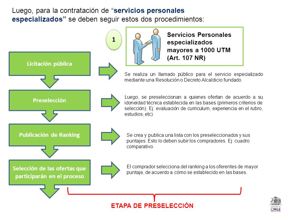 Luego, para la contratación de servicios personales especializados se deben seguir estos dos procedimientos: Servicios Personales especializados mayores a 1000 UTM (Art.