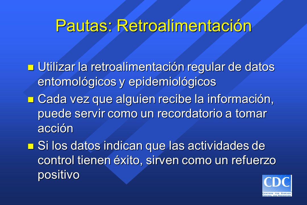 Pautas: Retroalimentación n Utilizar la retroalimentación regular de datos entomológicos y epidemiológicos n Cada vez que alguien recibe la informació